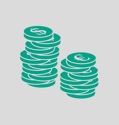 Stack of coins icon vector