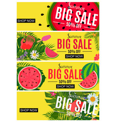 summer sale abstract banner collection set vector image