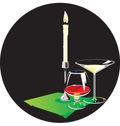 Two glasses and candle vector