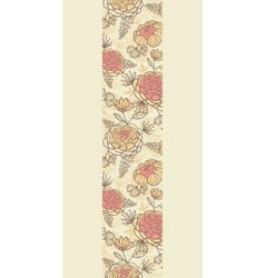 Vintage brown pink flowers vertical seamless vector