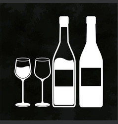 Wine bottles and glassware image vector