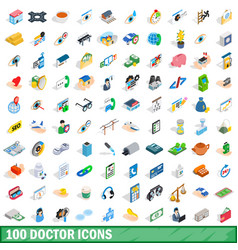 100 doctor icons set isometric 3d style vector