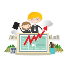 Business people with raise graph on laptop vector