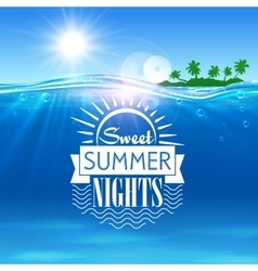 Tropical ocean island sweet summer nights placard vector