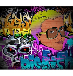 Graffiti wall urban art background vector image