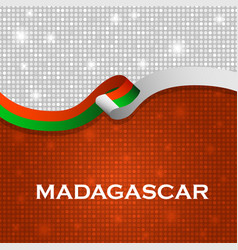 Madagascar flag ribbon shiny particle style vector