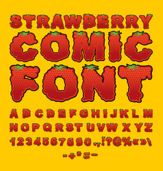 Strawberry comic font berry abc red fresh fruit vector