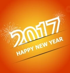 2017 happy new year on orange background vector