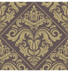 Damask seamless pattern orient golden background vector