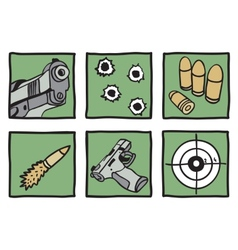 Collection of guns and bullets vector
