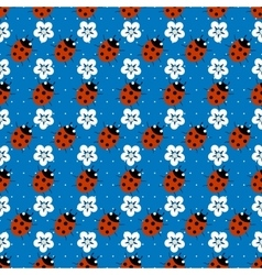 ladybugs with flowers seamless pattern vector image