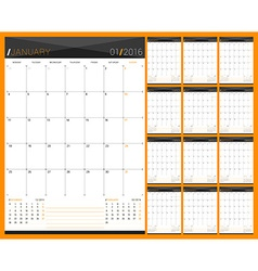 Monthly calendar planner for 2016 year set of 12 vector