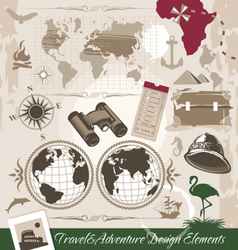 set of travel and adventure design elements vector image