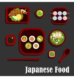 Japanese seafood dishes and dessert vector