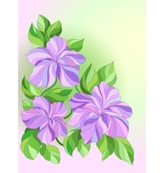 Card with decorative flowers pink and purple vector