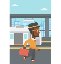 Man at the train station vector