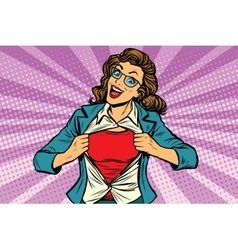 super hero woman ripping shirt vector image