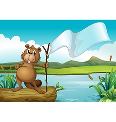 A beaver holding a wood with an empty banner vector image vector image