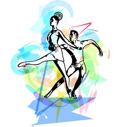 Abstract couple dancing ballet vector