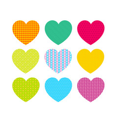 beautiful colored hearts with different patterns vector image vector image