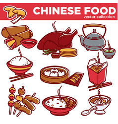 Chinese cuisine food dishes flat icons set vector