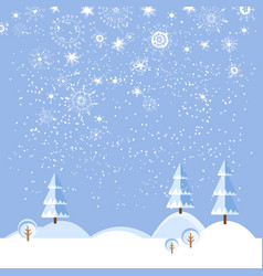 christmas winter flat landscape background vector image