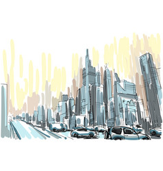 city skyscraper sketch view cityscape skyline vector image
