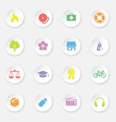 Colorful web icon set 6 on white circle button wit vector