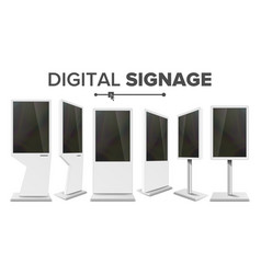 Digital signage touch kiosk set display vector