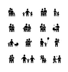 Family black white icons set vector