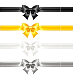 Festive bows black and gold with ribbons vector