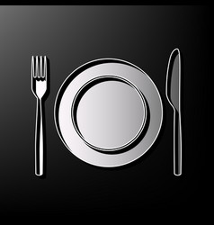 Fork knife and plate sign gray 3d vector