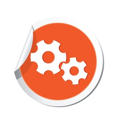 gear sign orange sticker vector image vector image