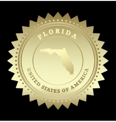 Gold star label florida vector