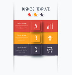 infographics template 3 options with square vector image vector image