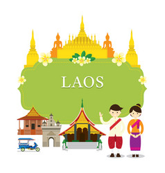 laos landmarks people in traditional clothing vector image vector image