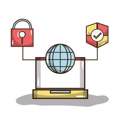 Laptop with global and shield with padlock symbols vector