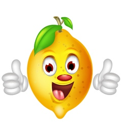Lemon cartoon thumbs up vector