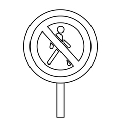 No pedestrian road sign icon outline style vector