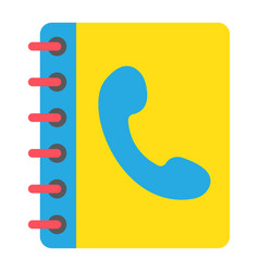 Phone book flat icon contact us and website vector