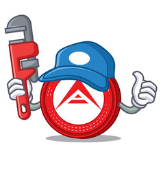 Plumber ark coin mascot cartoon vector