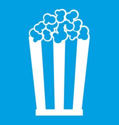 Popcorn in striped bucket icon white vector