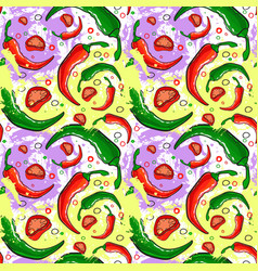Seamless pattern chili pepper vegetables ornament vector