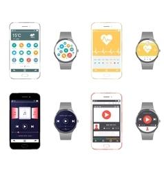 Set Smartphone and Smart Watch vector image vector image