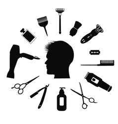 Silhouette of man with barber tools vector