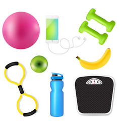 sport fitness set vector image