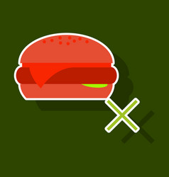 sticker hamburger classic burger american vector image