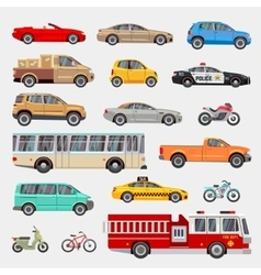 Urban city cars and vehicles transport vector image vector image