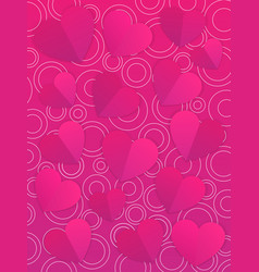 Valentines day card template with hearts vector