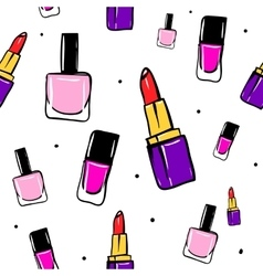 Seamless pattern with lipstick nail polish vector